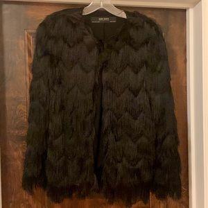 Zara fringe black light jacket